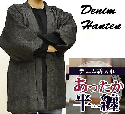 Denim Hanten Japanese Traditional Warm insulted Jacket Kimono M/L/LL Black/Navy
