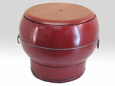 A Chinese Antique Blood Red Color Simple Big Wooden Rice Container 17'' High