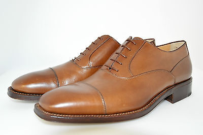 MAN-8eu-9usa-OXFORD CAPTOE-COGNAC CALF-VITELLO MARRONE-LEATHER SOLE