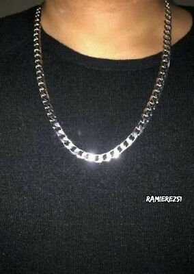 Mens 925 silver plated cuban real hip hop curb necklace chain 8mm 24 inch