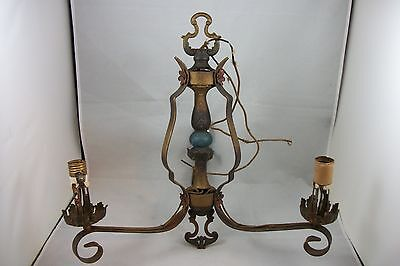 Antique 1920's Art Deco Chandelier Vintage Iron Polychrome Ceiling Light Fixture