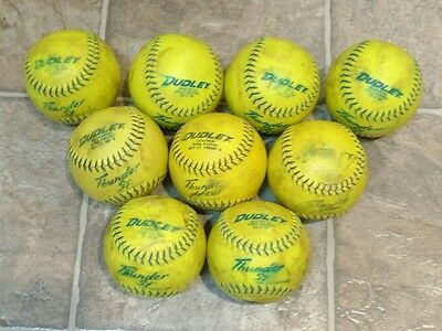 """9 Girl's womens sized used Dudley Thunder SY  11"""" USSSA Softballs"""