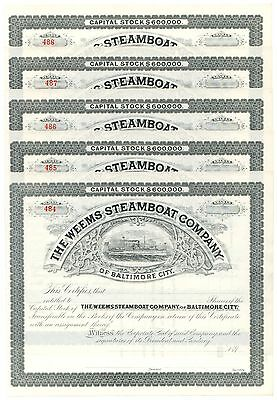 Weems Steamboat Co., Baltimore, Maryland, Lot of 10 Stock Cert.s Consecutive