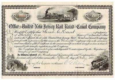 1885 United New Jersey Railroad & Canal Co. Stock Certificate No. 16687