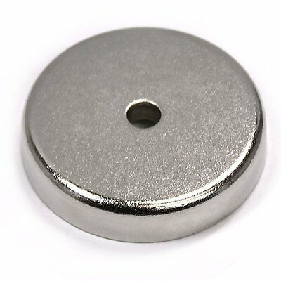 "120 LBS Holding Power 1.65"" Neodymium Round Base Pot Magnet w/ Countersunk Hole"