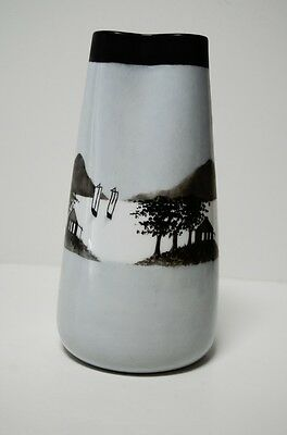 Vintage Rosenthal Hand Painted Porcelain Vase Asian Tropical Scene Art Pottery