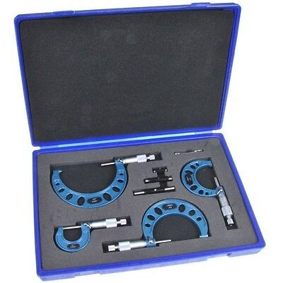 """4 Piece Set MICROMETER OUTSIDE 0-4/0.0001"""" PRECISION MACHINIST TOOL Carbide Tip"""