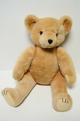 """Vintage Teddy Bear Jointed 18"""" Mohair Pure Wool Glass Eyes"""