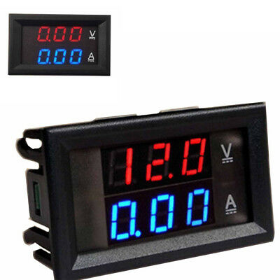 FAI DC 0-100V / 0-10A Volt Amp Voltmeter Ammeter 2 in 1 Red + Blue LED Digital