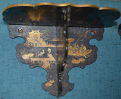 Antique Chinese Paper Papier Mache Folding  Selves Hand Painted With Gold