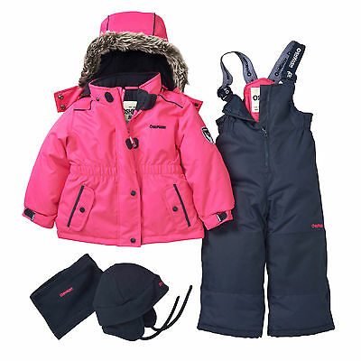 OshKosh Girls 4~PC Faux Fur Hood Ski Snowsuit Jacket Bib Hat Neck Warmer Set NWT