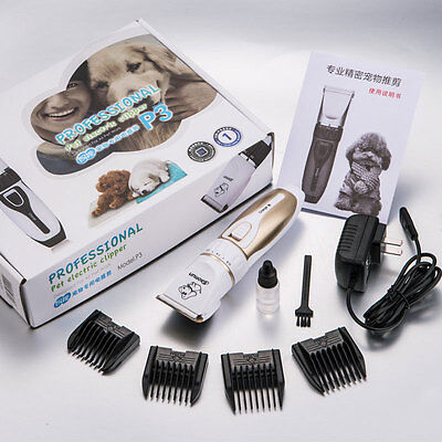 Rechargeable Pro Mute Pet Dog Hair Fur Trimmer Shaver Grooming Clipper Set New