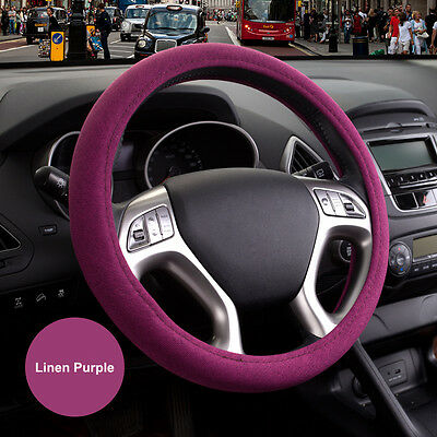 "15"" 38cm Environmental Linen Odorless Automotive Car Steering Wheel Cover Purple"