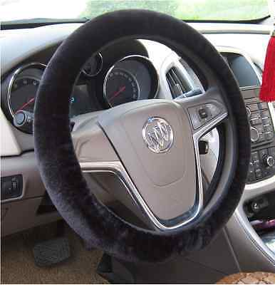 "Warm Simple Type Fluff Fur Elastic Washable Steering Wheel Cover 38CM 15"" Black"