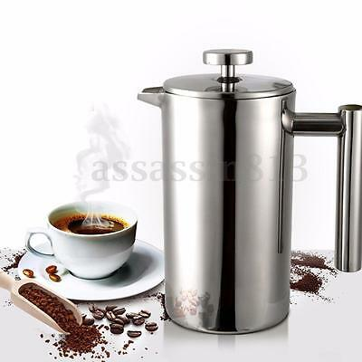 Stainless Steel Cafetiere French Press Coffee Cup Filter Double Wall Coffee Tea