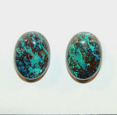 Chrysocolla Pair Cabochons 12x16mm with 6mm dome from Peru (10958)