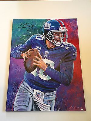Eli Manning Signed Limited Edition Giclee On Canvas Bill Lopa #1/10 NY Giants