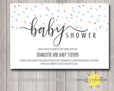 Personalised Printable Baby Shower Invitation Confetti Colourful