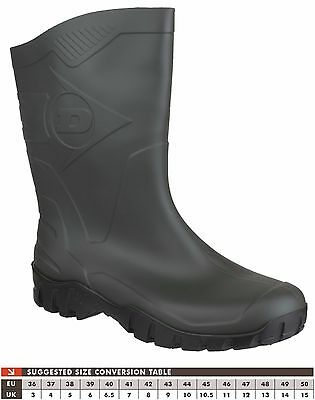 Unisex Dunlop Half Height Wide Leg Wellies Green with Black Sole sizes 4 to 12
