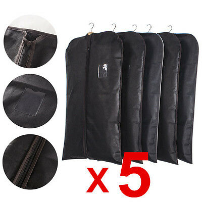 5X Black Breathable Garment Suit Dress Clothes Cover Protector Travel Bags UK