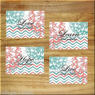 Teal Coral Inspirational Wall Art Decor Picture Prints Floral Chevron Love Hope+