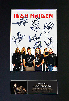 IRON MAIDEN Signed Mounted Autograph Photo Prints A4 542