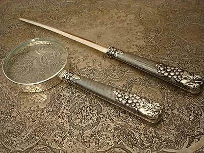 Silver Plated Magnifier Handle Magnifying Glass Loupe & Letter Opener Vintage