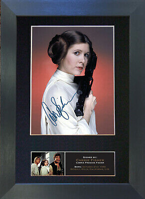 CARRIE FISHER Signed Mounted Autograph Photo Prints A4 540