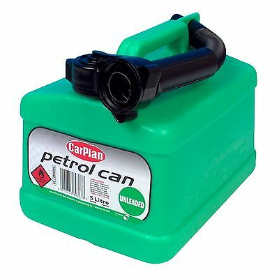 NEW Carplan Plastic Jerry Can With Spout Unleaded Colour Coded Green 5 Litres