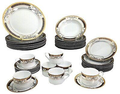 Black and Gold Floral Patterned 40 Piece Dinnerware Set for 8 Porcelain Kitchen