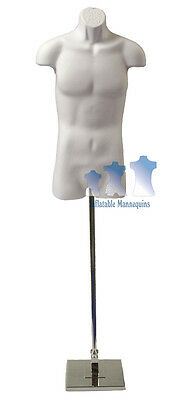 """Male 3/4, White and Tall adjustable Mannequin Stand with 10"""" Square Base"""