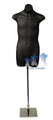"""Male 3/4, Black and Tall Adjustable Mannequin Stand with 10"""" Square Base"""