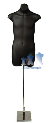 """Male 3/4, Black and Tall adjustable Mannequin Stand with 8"""" Square Base"""