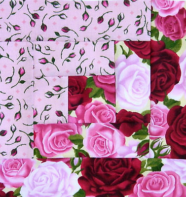 { 16 } Pre-Sewn Already Pieced Log Cabin Quilt Blocks ~ Roses