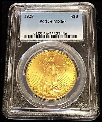 1928 Gold United States $20 Saint Gaudens Double Eagle Coin Pcgs Mint State 66