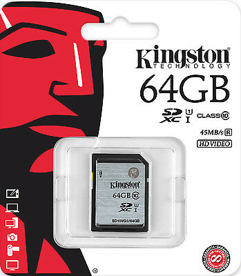 Genuine Kingston 64GB SD SDHC Memory Card Class 10 - Digital Camera & Camcorder
