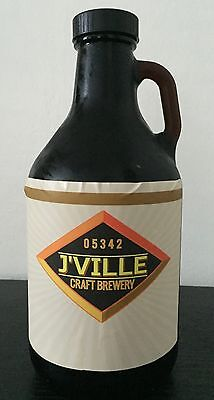 J'ville Craft Brewery, Jacksonville VT, 32 Oz Glass Growler Beer Bottle with Cap