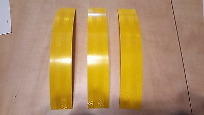 """3M 3 STRIPS 1.5"""" x 8"""" YELLOW PRISMATIC REFLECTIVE CONSPICUITY TAPE"""