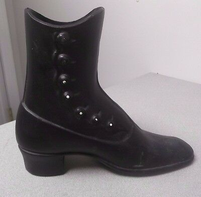 VINTAGE UNIQUE CAST IRON VICTORIAN LADIES BOOT SHOE PLANTER RARE button up side