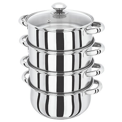 22Cm 4 Tier S/s Steel Induction Hob Steamer With Glass Lid Cookware Pot Pan Set