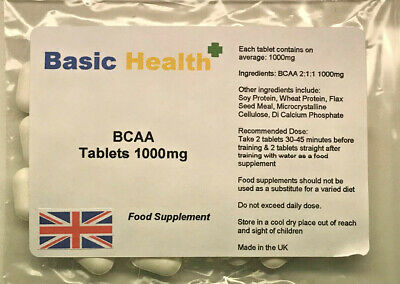 BCAA X 120 1000mg Tablets Vegetarian Muscle gain Repair Growth Protein Workout