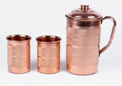 Indian Handmad Pure COPPER WATER JUG WITH 2 GLASS Pitcher WATER NATURAL Ayurveda