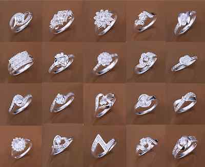 925 Solid Silver Filled Ring Women's AAA Zircon Fashion Jewelry Gift Size 7 8