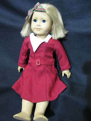 """2008 18"""" KIT American Girl Doll by Pleasant Company with Christmas Dress on"""