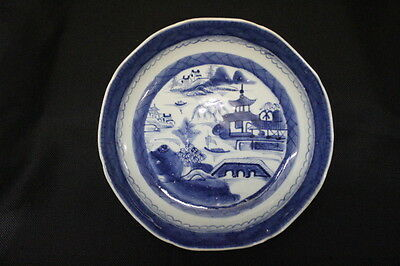 Mid 19th Century Chinese Canton Blue & White Porcelain Large Bowl 10""