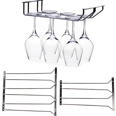 Home Stainless Steel Wine Glass Holders Rack Under Cabinet Stemware Hanger Shelf