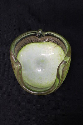 1960's Italian Murano Glass Clear Cased Free Form Bowl w/Gold Flame, Green White