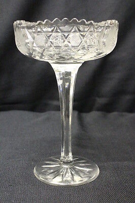 """American Brilliant Cut Glass Compote Tall Footed Bowl 9.25"""" Etched Flower Motif"""