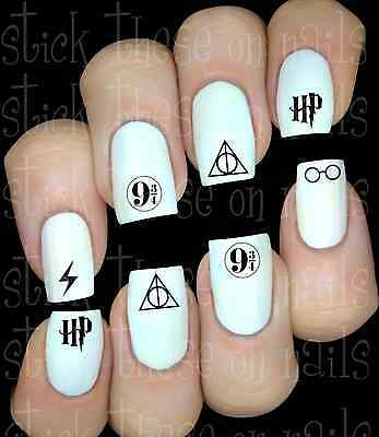 30 Nail Art  Stickers Water Transfers Harry Potter Inspired Deathly Hallows