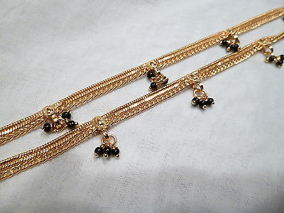 22K Gold Plated Anklets Indian Wedding Bollywood Style Free Style